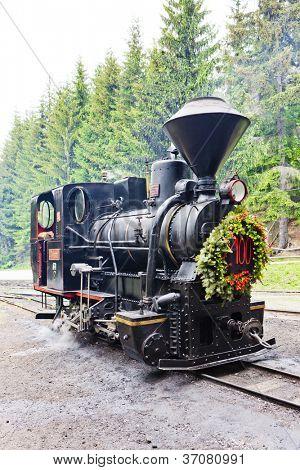 steam locomotive, Museum of Kysuce village, Vychylovka, Slovakia poster