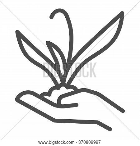Plant Sprout In Hand Line Icon, Gardening Concept, Flower Plant In Hand Sign On White Background, Hu