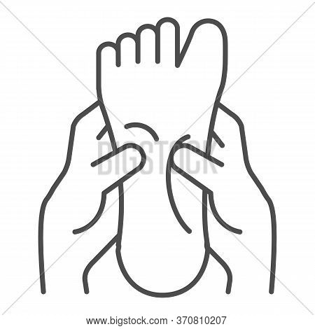 Two Hands Massage One Foot Thin Line Icon, Spa Salon Procedure Concept, Foot Massage Sign On White B