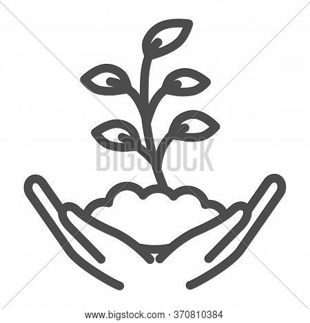 Hand Holds Small Plant With Many Leaves Line Icon, Ecology Concept, Sprout Growing In Ground Sign On