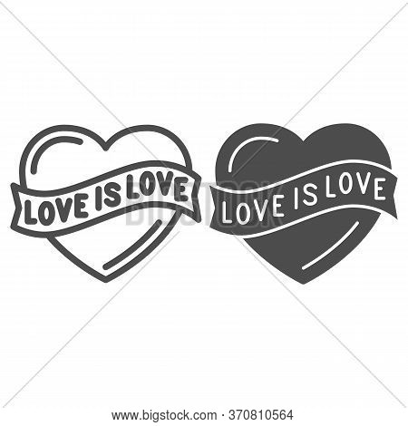 Love Is Love Heart Symbol Line And Solid Icon, Lgbt Concept, Love Sign On White Background, Lgbt Hea