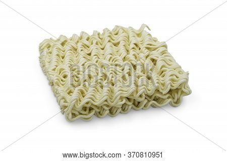 Uncooked Instant Noodle On White Isolated Background With Clipping Path. Instant Noodles Is Unhealth