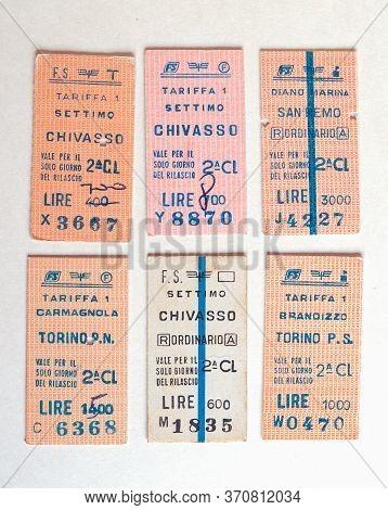 Turin - Jun 2020: Vintage Italian Fs Train Ticket