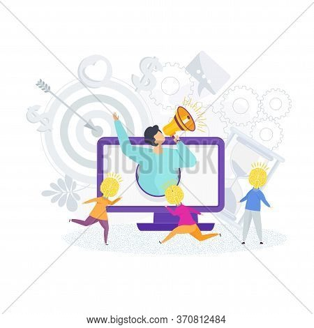 Human Resources Flat Vector Concept. Hr. Candidates For Vacancy. Recruiting And Hiring. People Carry