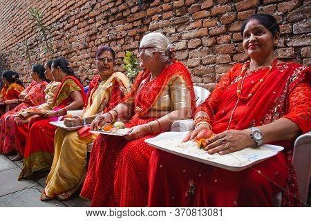 Kathmandu,nepal - June July 6,2019: Nepali Women During Religious Ceremony Bratabandha In Kathmandu.
