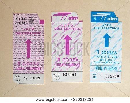 Turin - Jun 2020: Vintage Turin Public Transport Ticket