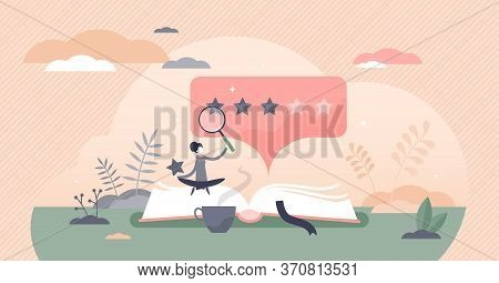 Book Review Vector Illustration. Reading Feedback Flat Tiny Persons Concept. Literature Professional