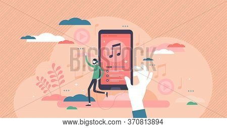 Music Playlist Vector Illustration. Audio Songs Rotation Schedule Flat Tiny Persons Concept. Media T