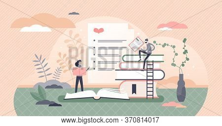 Best Books List Vector Illustration. Top Favorite Literature Sheet Flat Tiny Persons Concept. Feedba
