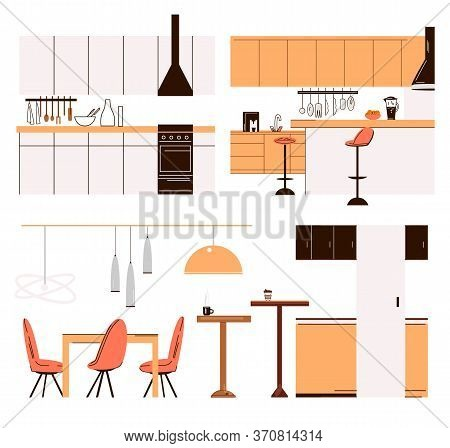 Vector Flat Collection Of Home Kitchen Modern Furniture - Kitchen Tables, Bar Chairs, Dinner Tables,