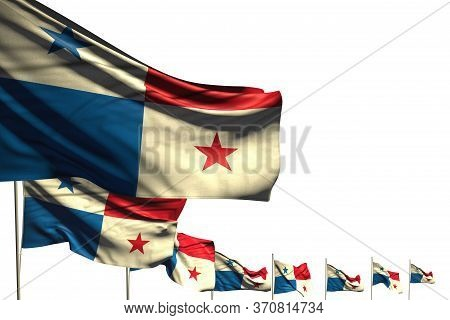 Beautiful Anthem Day Flag 3d Illustration  - Many Panama Flags Placed Diagonal Isolated On White Wit