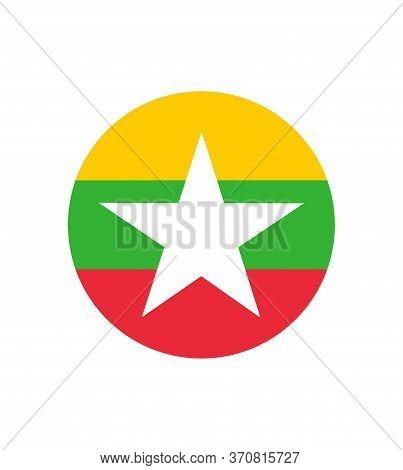 Myanmar Or Burma Flag. Original And Simple Union Of Myanmar Or Burma Flag Isolated Vector In Officia