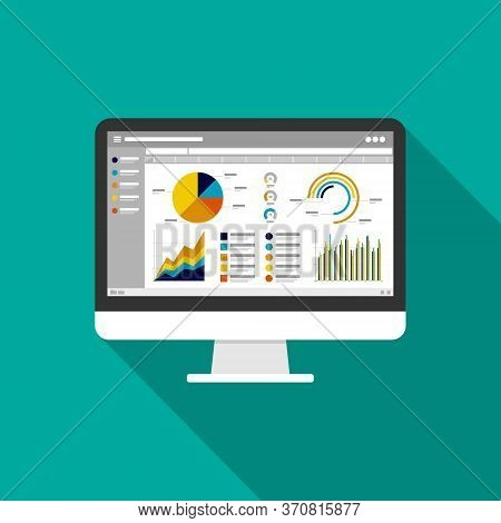 Web Statistics Analytic Charts On Computer Screen Icon. Flat Vector Infographic Trend Graphs Informa