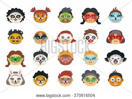 Kids Face Painting With Various Character Drawings