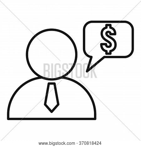 Finance Question Advisor Icon. Outline Finance Question Advisor Vector Icon For Web Design Isolated