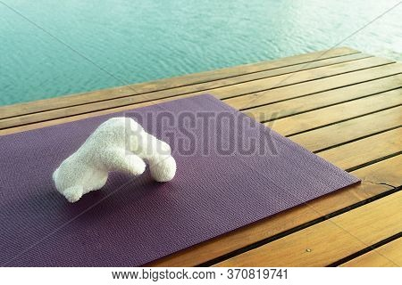 White Bear Doll Yoga Acting Exercise  On Mat At Cozy Wood Terrace With Blue Lake Nature Well Being H