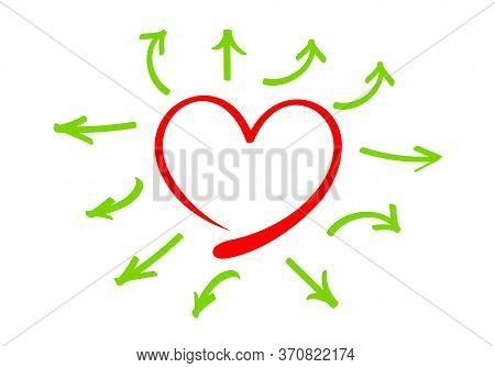 Arrow Line Pointing Out From The Heart Shape Frame, Doodle Red Heart Shape And Arrow Line Green For