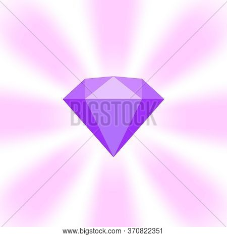 Purple Diamond Gemstone On Zoom Comics, Purple Flat Diamonds Jewelry Icon, Purple Gems On Soft Rays