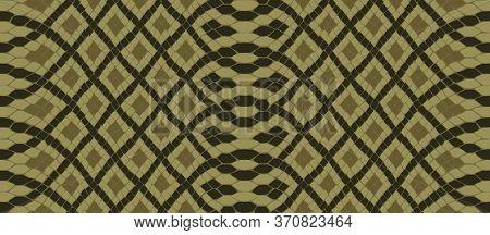 Snake Skin Seamless Drawing. Reptile  Texture. Animal Print. Vector Pattern