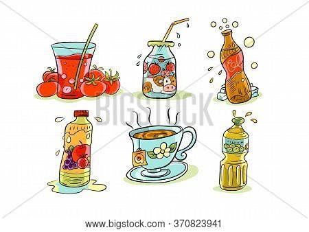 A Collection Of Cartoon Icons With Images Of Various Food Products In Particular Beverages
