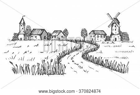 Sketch Of A Rural Landscape. The Road Leading To The Farm, Houses, Mill Through A Wheat Field. Good