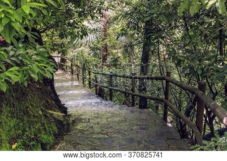 Tremezzo, Italy - May 14, 2018: This Is A Ladder On A Steep Descent In The Thickets Of The Botanical