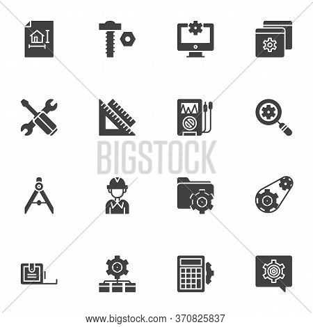 Engineering Technology Vector Icons Set, Modern Solid Symbol Collection, Filled Style Pictogram Pack