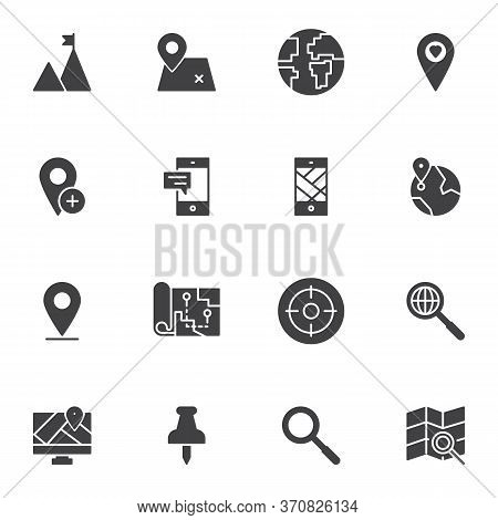 Cartography Vector Icons Set, Geo Location Modern Solid Symbol Collection, Filled Style Pictogram Pa