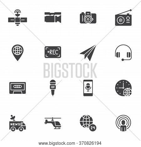 Press News Vector Icons Set, Journalism Modern Solid Symbol Collection, Filled Style Pictogram Pack.