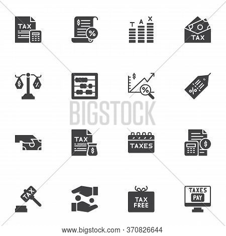 Taxes Vector Icons Set, Modern Solid Symbol Collection, Financial Banking Filled Style Pictogram Pac