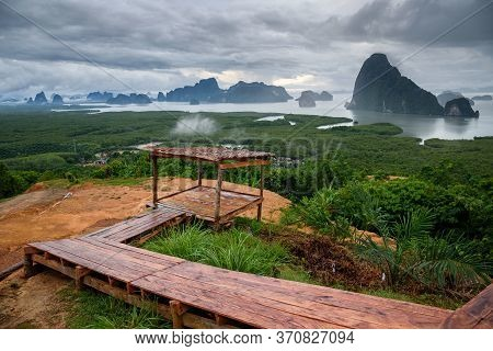 The Scenery Of The Sametnangshe Island In The Morning With The Wooden Path And Shack In Phang-nga Pr