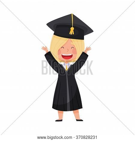 Smiling Girl Character In Academic Gown And Square Cap Delighted With Graduation Ceremony Vector Ill