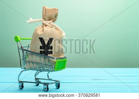 Shopping Cart With A Bag With Rmb Symbol