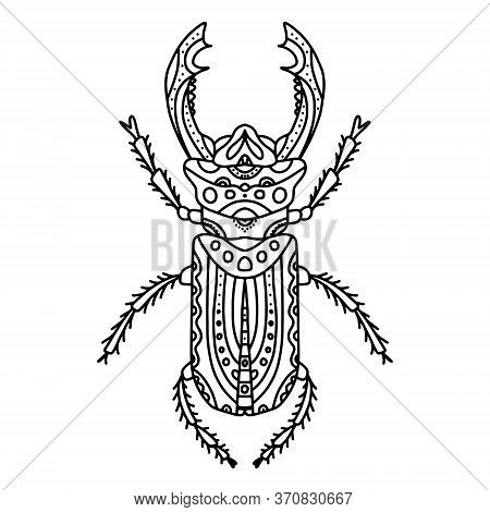 Vector Antistress Coloring Book With Beetle With Horns, A Series Of Coloring Pages With Insects. Col