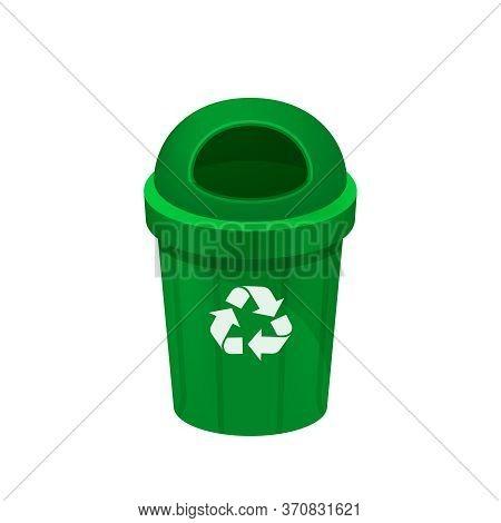 Bin, Green Bin Isolated On White, Clip Art Of Recycle Bin Small, Illustration Green Bin Plastic