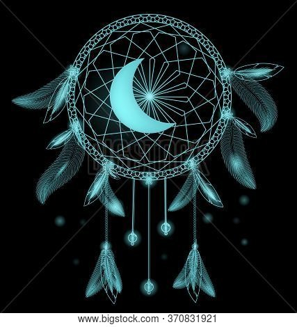 Vector Illustration Dark Blue Colored Image Of Dreamcatcher Moon With Feathers