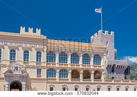 The Prince S Palace Of Monaco, With Guards, The Official Residence Of The Sovereign Prince Of Monaco