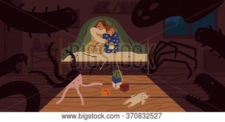Scared Children Sit On Bed Under Blanket With Flashlight Vector Flat Illustration. Little Girls Afra