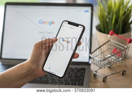 Bangkok, Thailand. March 17, 2018: Google Application With Voice Speaker Typing, Intelligent Search