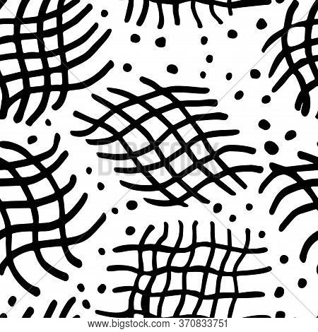 Geometric Background With Fragments Of The Mesh And Dot Memphis. Black And White Background. Vector