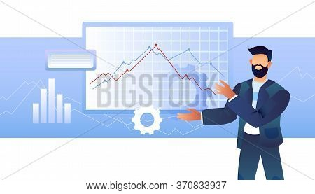 Finance Business Concept With Successful Male Character In Suit, Diagrams And Gears. Stock Illustrat