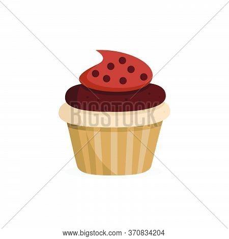 Yummy Chocolate Cupcake. Sweet Food. Isolated Vector Illustration