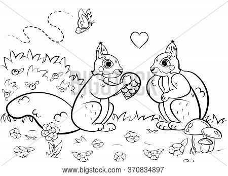 Printable Coloring Page Outline Of Cute Cartoon Squirrels In Love In A Clearing. Vector Image. Color
