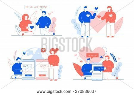 Love Declaration Via Social Media Network Card Set