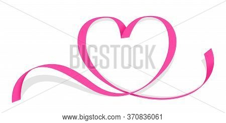 Ribbon Pink Heart Shape Isolated On White, Ribbon Line Pink Heart-shaped, Heart Shape Ribbon Stripes