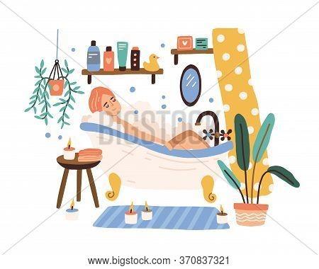 Relaxed Woman Lying At Cozy Bathroom With Foam Bubbles Vector Flat Illustration. Joyful Female Takin
