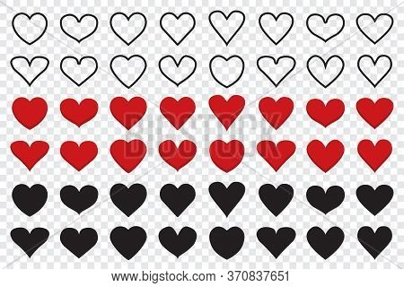 Set Of Heart Icons In Different Shapes. Line Icons Of Heart. Red Heart Icons. Big Collection Of Hear