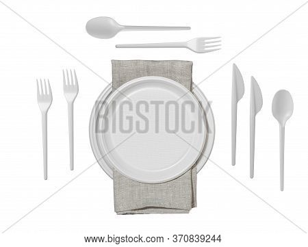 Serving Table With Plastic Plates, Spoons, Forks, Knives And Serviette Isolated On White Background.