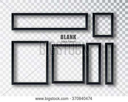 Set Empty Black Picture Frames. Blank Black Picture Frames Mockup Template Isolated On Transparent B
