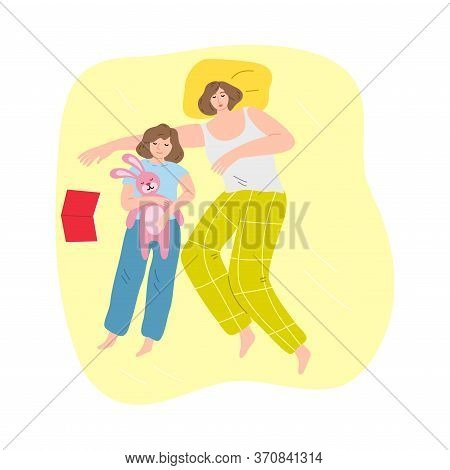 Mother And Daughter Sleeping In One Bed At Home On Yellow Linen Together